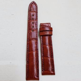 Dây đồng hồ da Cá sấu cao cấp 1 mặt (size 22mm) CS1M (Nâu đỏ)