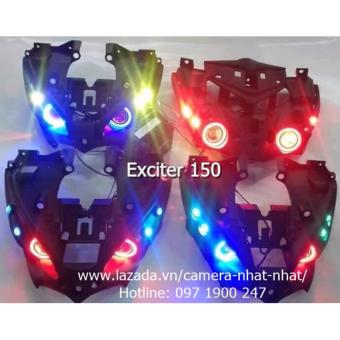 Bộ đèn mắt cú Exciter 150 mới gồm 2 đèn LED U7 2017, 4 đèn LED mắt cáo và bộ xương 150
