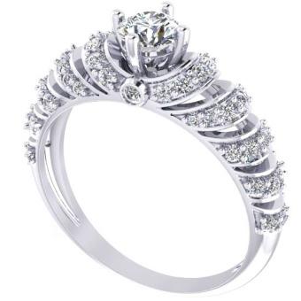 Nhẫn vàng trắng đá kim cương nhân tạo NNU15
