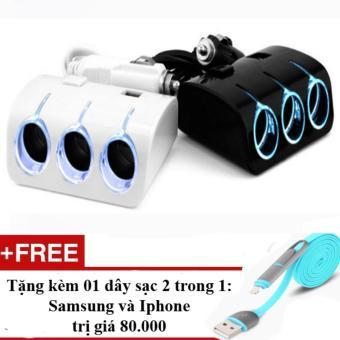 Bộ chia 3 tẩu và 2 cổng USB cho ô tô (Đen) + Tặng 01 dây sạc điện thoại 2 trong 1 cho Iphone và Samsung