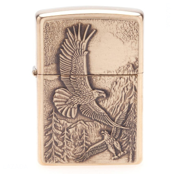 Bật lửa Zippo Lighter Where Eagles Dare Emblem, Brushed Brass (Vàng) 20854