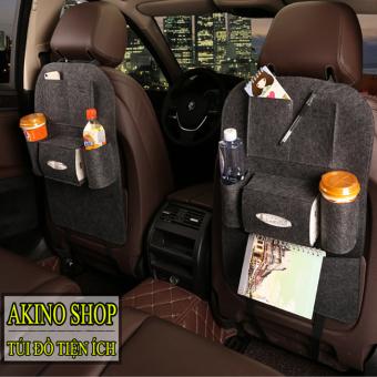 Bộ 2 túi bao đựng đồ 6 ngăn sau ghế ô tô AKINOSHOP kiêm bảo vệ ghế TXD02 (Xám Đậm)