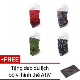 Bộ 4 khăn đa năng đi phượt+ Tặng 1 dao du lịch bỏ ví hình thẻ ATM (Xám)