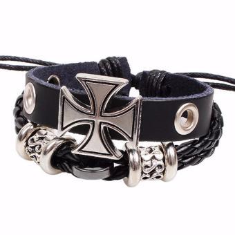 Vòng đeo tay handmade mặt chữ thập dây da đen nam nữ vintage