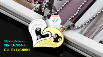 Dây chuyền Inox cặp 2 mảnh ghép trái tim xinh DC064-3 (Vàng)