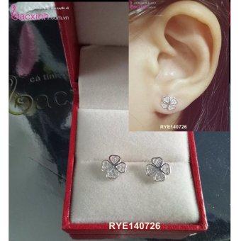 Bông tai nữ trang sức bạc Ý S925 Bạc Xinh - Cỏ bốn lá may mắn RYE140726