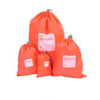 Bộ 4 túi rút đựng đồ đi du lịch Flancoo 3715 (Đỏ)