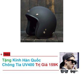 Mũ Bảo Hiểm Phượt Tặng Kính Hàn Quốc ( Đen )