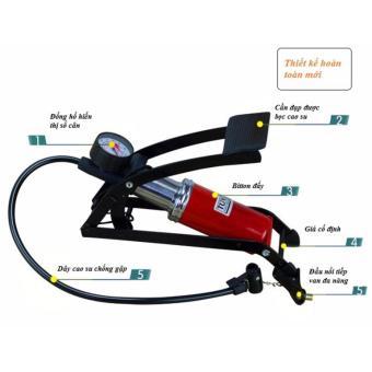 Bơm đạp chân mini 1 piston ô tô và xe máy + Tặng móc khóa bật bia