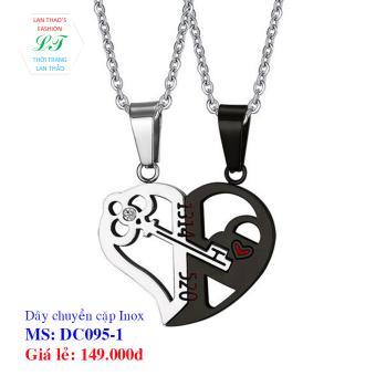 Dây chuyền Inox cặp chìa khóa tình yêu DC095-1 (Đen Trắng)