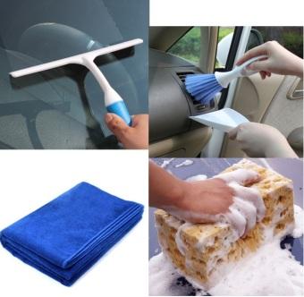 Bộ 4 sản phẩm tiện lợi lau dọn vệ sinh xe hơi (Xanh)