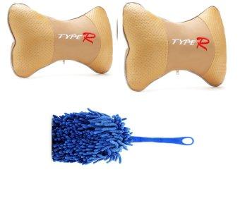Bộ 2 gối đầu ghế xe bọc nỉ Type R và 1 chổi lau dọn nội thất ô tô Tienich168 TI139