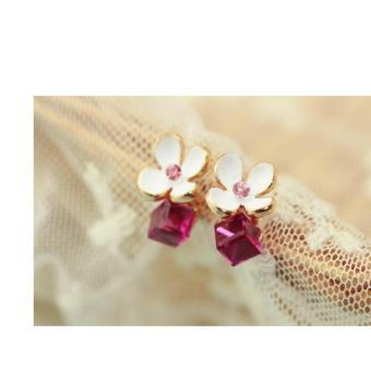 Bông tai hoa trắng 4 cánh đá pha lê (Hồng)