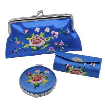 Portable Makeup Mirror Lipstick Case Purse Set Retro Flower Pattern Premium Embroidery Brocade Holder Box Blue - intl
