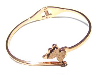 Vòng tay con bướm phun cát mạ vàng Titan