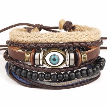 Vòng đeo tay nam dây da Hàn Quốc Handmade LLS (Nâu)