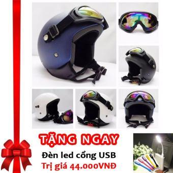 Kính Thể Thao Gắn Mũ Bảo Hiểm Chống Bụi, Chống Tia UV Gương Tráng Bạc Cao Cấp F119 (Đa Màu Sắc) + Tặng đèn LED cổng USB