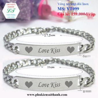 Vòng tay cặp đôi Inox Love Kiss đáng yêu VT099 (Trắng)