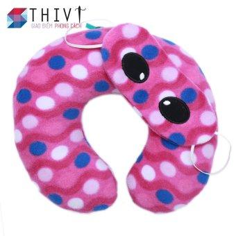 Bộ gối cổ và bịt mắt THIVI 32 (Tím - Bi xanh trắng)