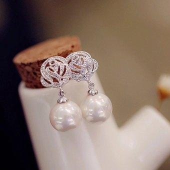 Bông Tai nữ Hạt Ngọc Trai 10ly kèm hoa hồng B2231
