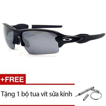 Kính mát Oakley FLAK2.0 OO9271-01 (Đen) + Tặng 1 bộ tua vít sửa kính