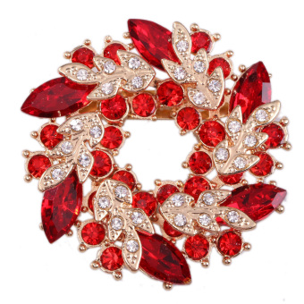 Shiny Crystal Brooch Breastpin Ornaments Clamp Accessory Bright Red (Intl)