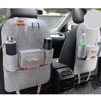 Bộ 2 Túi yếm đựng đồ 6 ngăn sau ghế xe ô tô LOẠI 1 kiêm bảo vệ ghế cao cấp H89 (Xám)
