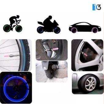 Bộ 2 đèn LED gắn van bánh xe đạp, xe máy, xe ô tô (Xanh dương)