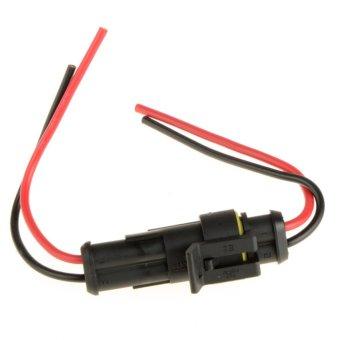 2 Pin Electrical Wire Connector Plug Waterproof Motorcycle Car Marine (Black) - INTL