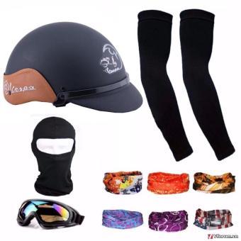 Bộ 1 mũ bảo hiểm 1/2 đầu ốp da thời trang + 1 mũ ninja + 1 đôi bao tay chống nắng + 1 kính phượt + Tặng 2 khăn phượt đa năng màu ngẫu nhiên'(Đen)