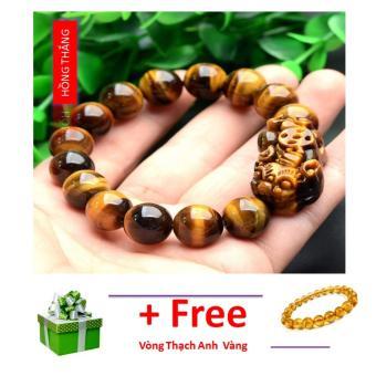 Vòng tay đá mắt hổ gắn tỳ hưu 12 li- Phong thủy mang lại sự tỉnh táo, sáng suốt, khôn ngoan, hạnh phúc và may mắn