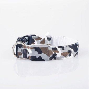 LED Dog Personalised Collar Nylon Pet Light-up Flashing Glow Safety S M L White - intl