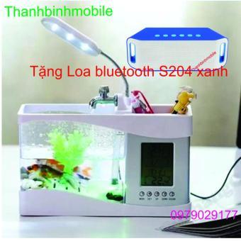 Bể cá mini phong thủy cho bàn làm việc (Trắng) + Loa S204 (Xanh)