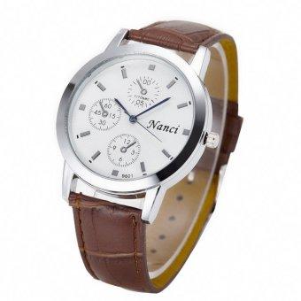 Đồng hồ nữ dây da cao cấp Nanci 2106 (Nâu mặt trắng)