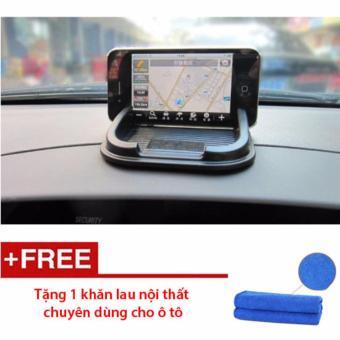 Miếng dán chống trượt điện thoại, để đồ trên ô tô (Đen) - Tặng 1 khăn lau nội thất ô tô