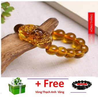 Vòng đá thạch anh vàng gắn tỳ hưu 14 li - phong thuỷ giúp đem lại sức khoẻ và may mắn tài lộc