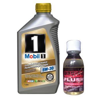 Bộ sản phẩm nhớt tổng hợp Mobil 1 SAE 5W30 1L và chai phụ gia súc rửa động cơ Engine Flush 100ml