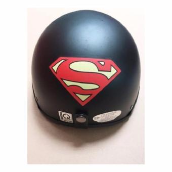 Mũ bảo hiểm 1/2 đầu hình siêu nhân kèm kính UV màu bất kì (Đen)