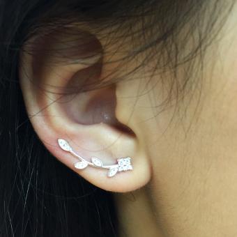 Bông tai Nhành Hoa bạc 99 MN568 Trang sức Minh Ngọc ( trắng).