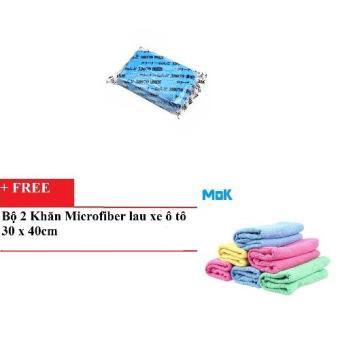 Đất sét tẩy bụi sơn chuyên dụng cho xe ô tô HQ016(Xanh) + tặng kèm bộ 2 khăn Microfiber lau xe ô tô