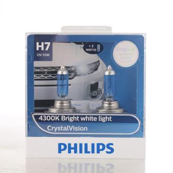 Bộ 2 bóng đèn Philips CrystalVision 4300 K chân H7
