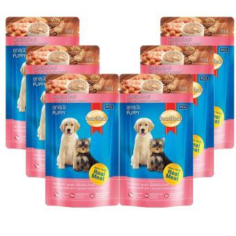 Combo 6 Thức ăn SmartHeart dạng túi thịt gà miếng nấu xốt dành cho chó con - 130gm