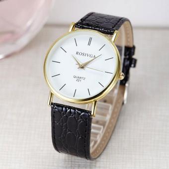 Đồng hồ nam dây da thời trang Rosivga 6691 (Dây đen)