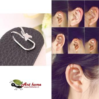 Bông tai nữ (Khuyên tai) đeo vành hình bướm xinh mầu bạc (BT38)