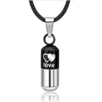 Stainless Love Pill Keeper Capsule Tablet Pendant Necklace Chain Unisex - Intl