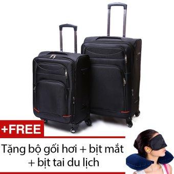 Bộ 2 vali Sam 20 inch và 24 inch (Đen) + Tặng bộ 1 gối hơi + 1 bịt mắt + 1 cặp bịt tai du lịch