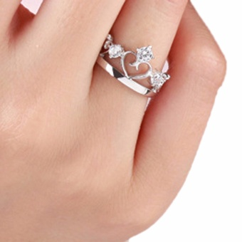Fancyqube New Silver Plated Prince Princess Imperial Crown Adjustable Couple Rings Lovers Jewelry Gift Drop Shipping Women - intl