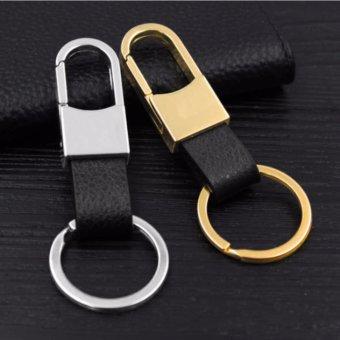 Bộ 02 móc chìa khóa bằng da thật và kim loại tinh xảo NiuBi (Bạc + Vàng)