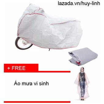 Combo bạt phủ xe máy ( Trắng ) + free áo mưa vi sinh