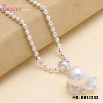 Bộ dây chuyền liền mặt trang sức bạc Ý S925 Bạc Xinh - Ngọc trai đẹp PP1233